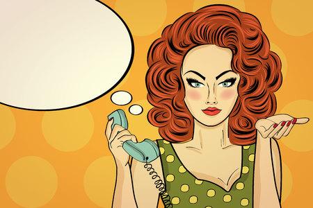 Sexy pop art vrouw praten op een retro telefoon. Pin-up meisje. Vector illustratie