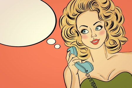 Sexy pop art woman in party dress talking on a retro phone and smile. Pin up girl. Vector illustration Illustration