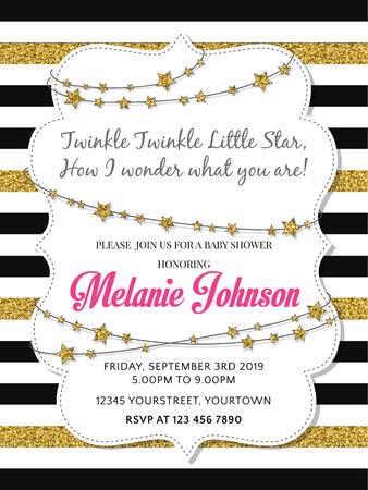 Lovely baby shower card template with golden glittering details, vector format Ilustração Vetorial