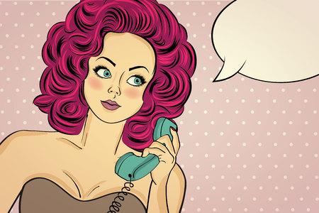 pop art femme sexy en robe de soirée à parler sur un téléphone rétro et sourire. Pin up fille. Vector illustration