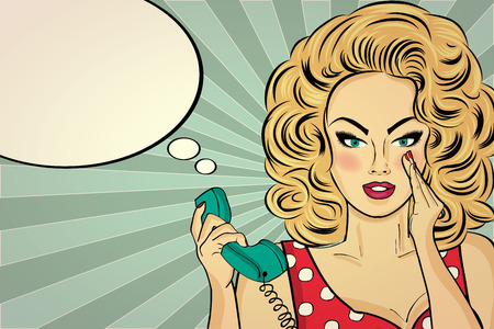 beauty smile: Sexy pop art woman  talking on a retro phone. Pin up girl. Vector illustration