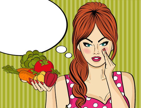 lady in red: Sexy pop art woman with vegetables in his hand. Pin up girl. Vector illustration Illustration