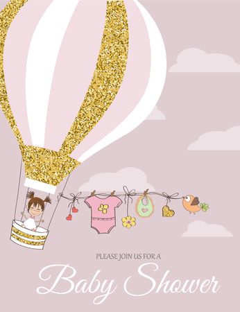 Beautiful  baby shower card template with golden glittering details, vector format Illustration