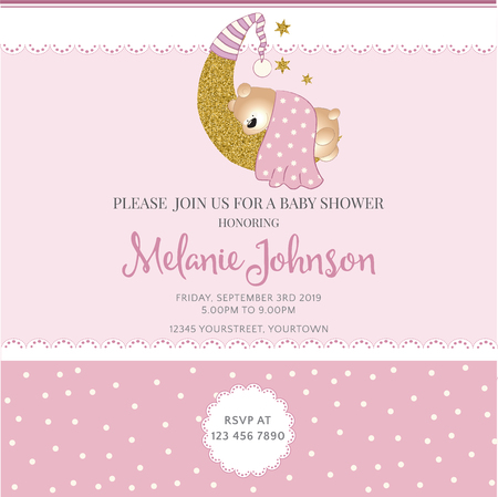 mother and baby: Lovely baby shower card template with golden glittering details, vector format