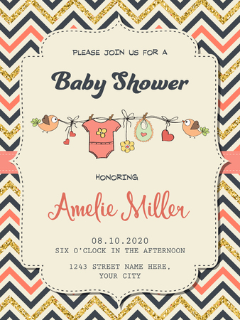 Beautiful retro baby shower card template with golden glittering details, vector format Çizim