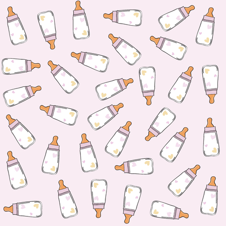vector pink seamless pattern with milk bottles