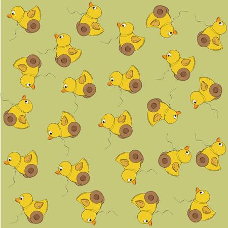 joyful vector seamless pattern with duck toy Illustration