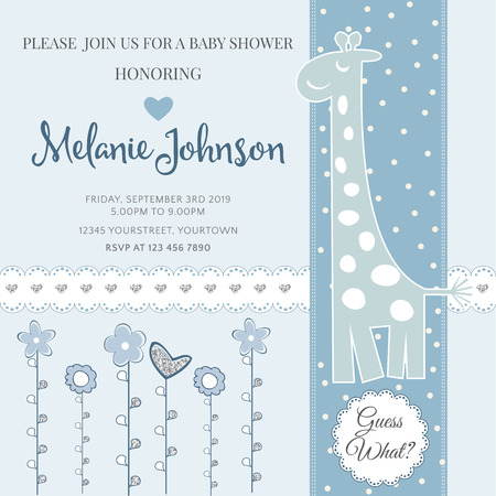 Lovely baby shower card template with silver glittering details, vector format