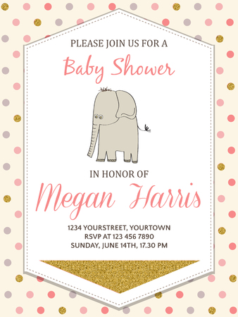 Beautiful baby shower card template with golden glittering details, vector format