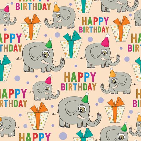 Compleanno senza soluzione di continuità con elefanti e regali Archivio Fotografico - 82827611