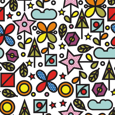Doodle pattern with flowers and other nature elements