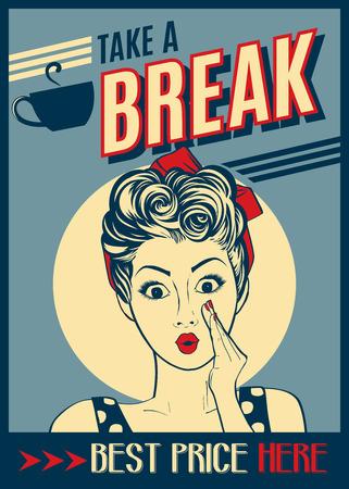 広告 pop アートの女性とコーヒーのレトロなポスター
