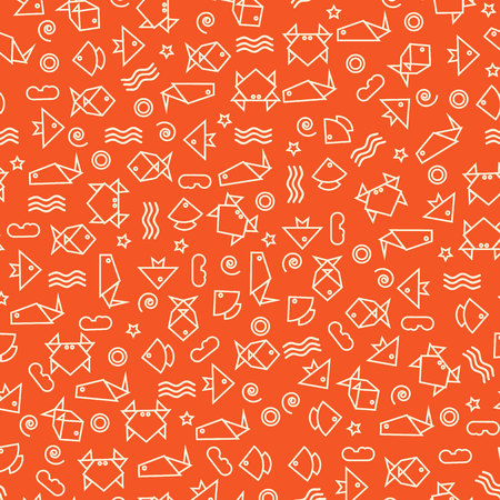 Doodle style pattern with fish and other nature elements Ilustração