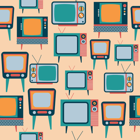 Pattern with retro tv