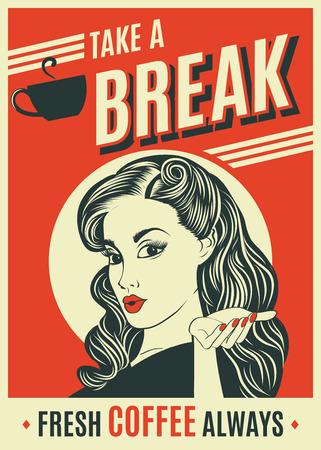 Affiche rétro de pub publicitaire avec femme pop art Banque d'images - 82828012