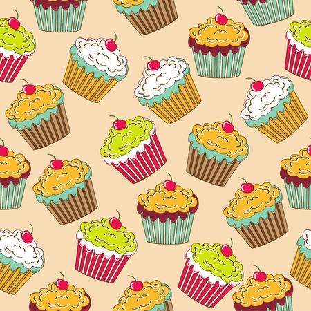 컵 케이크와 달콤한 원활한 패턴