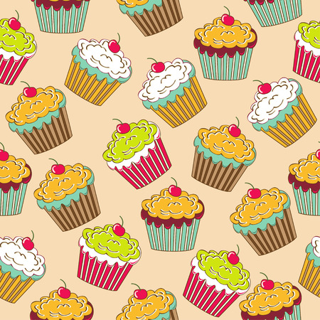 Sweet seamless pattern with cupcakes Illustration
