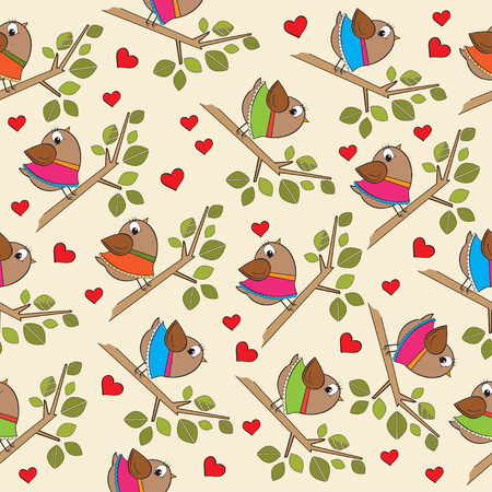 Funny pattern with dressed birds Illustration