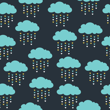 Cute seamless pattern with blue clouds.