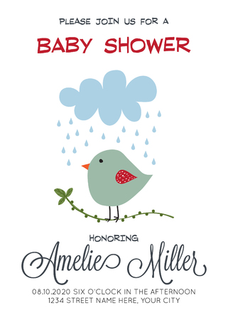 Delicate customized baby shower card template with bird.