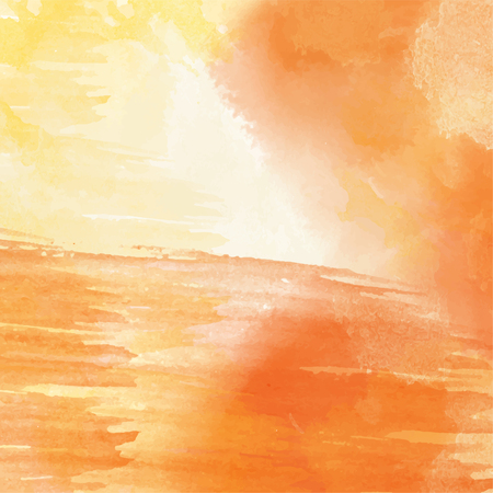 Orange hand drawn watercolor background.