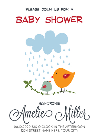 delicate customizable baby shower card template with birds, vector format
