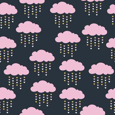 childish seamless pattern with pink clouds Illustration