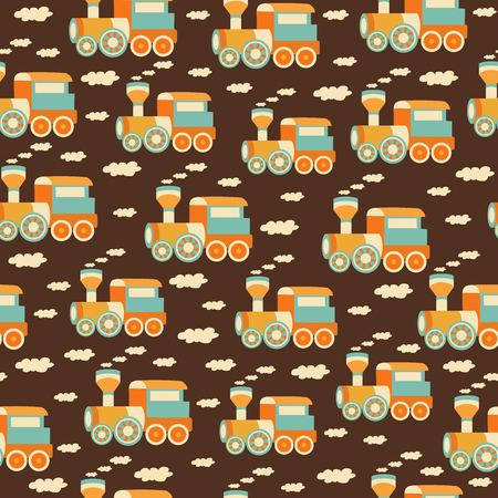 childish seamless pattern with train toys 向量圖像