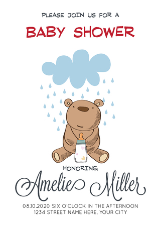 delicate customizable baby shower card template with teddy bear toy, vector format Illustration
