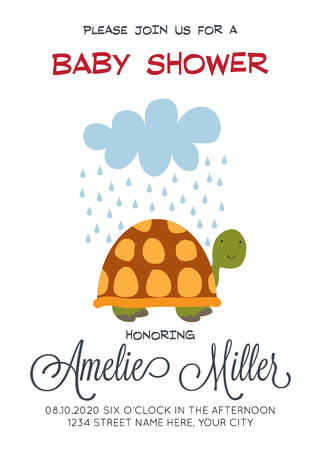 Delicate customized baby shower card template with turtle. Çizim