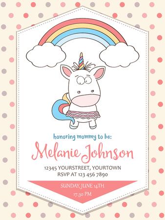 Beautiful baby shower card template with lovely unicorn baby girl. Ilustração Vetorial