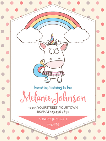 Beautiful baby shower card template with lovely unicorn baby girl.