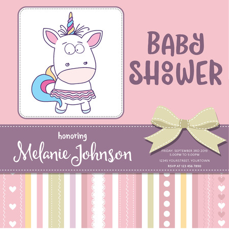 Beautiful baby shower card template with lovely baby girl unicorn.