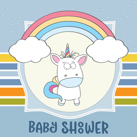 Beautiful baby shower card template with lovely baby unicorn.