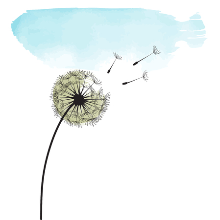 Stylized dandelion. Stock Illustratie