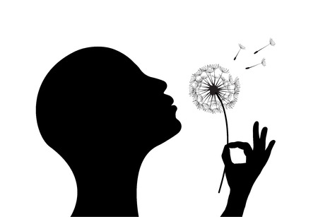 Stylized  woman on white background blowing a dandelion.