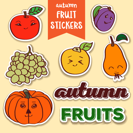 Lovely doodle autumn fruit stickers
