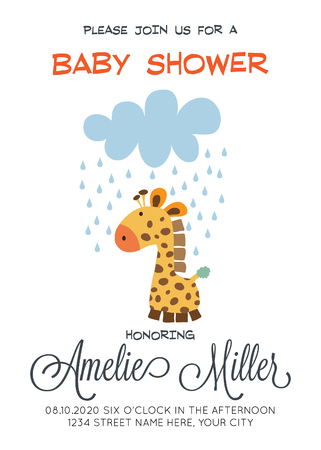 Delicate customized baby shower card template with giraffe toy.