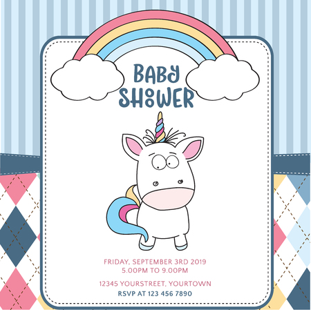 Beautiful baby shower card template with lovely baby unicorn, vector format