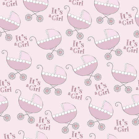 delicate seamless pattern with pink strollers 向量圖像