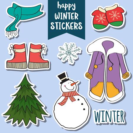 사랑스러운 행복한 겨울 스티커 컬렉션