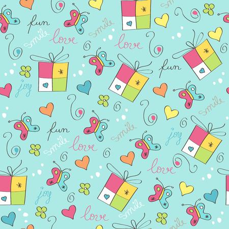 섬세한 원활한 패턴 선물 상자 일러스트