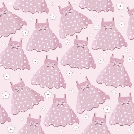 Nahtloses Muster mit rosa Babykleidern Standard-Bild - 88127008
