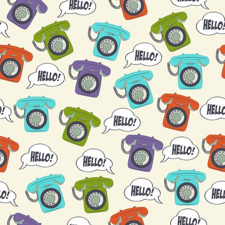 beautiful seamless pattern with retro phone Illusztráció
