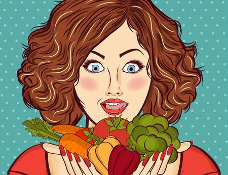 Mooie roodharige dame met groenten in zijn handen Stockfoto - 90628774