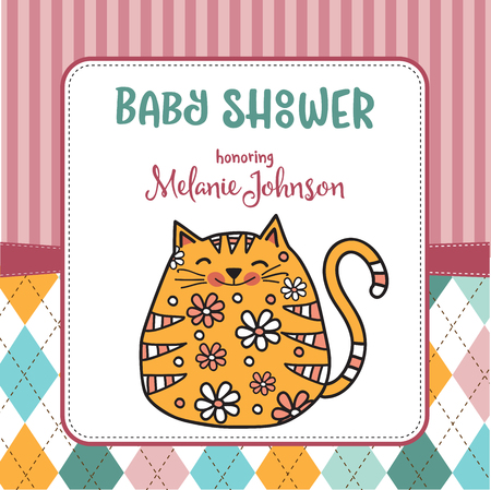 baby shower card template with fat doodle cat, vector format Illusztráció