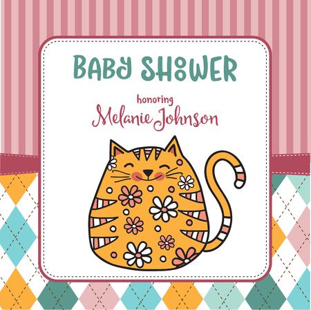 Modelo de cartão de banho de bebê com gato de doodle de gordura, formato vetorial Foto de archivo - 90628776