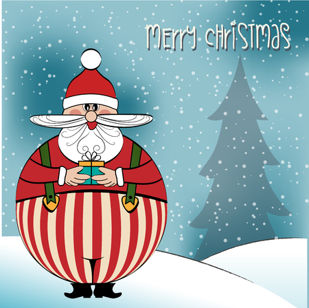 Christmas card with funny fat Santa, vector format