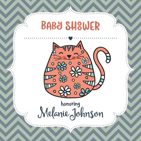 Plantilla de tarjeta de ducha de bebé con gato gordo doodle, formato vectorial Foto de archivo - 90628804