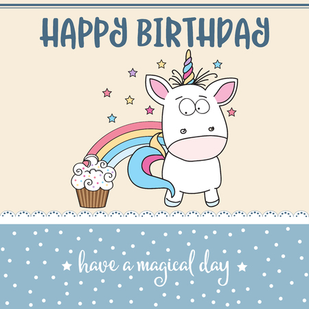 happy birthday card  with lovely baby unicorn, vector format